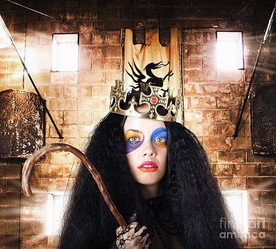 Luxury Medieval Queen In Exclusive Gold Crown Poster by Jorgo Photography - Wall Art Gallery