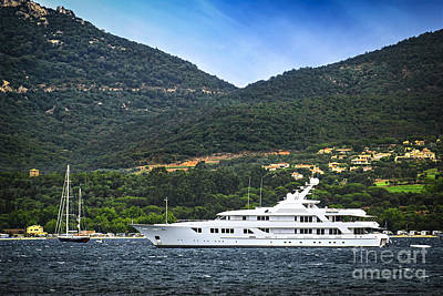 Luxury Yacht At The Coast Of French Riviera Poster by Elena Elisseeva