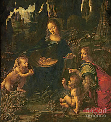 Madonna Of The Rocks Poster by Leonardo da Vinci