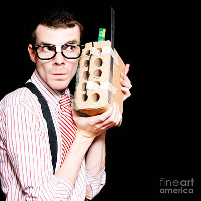 Male Nerd Inventor Holding Brick Mobile Telephone Poster by Jorgo Photography - Wall Art Gallery