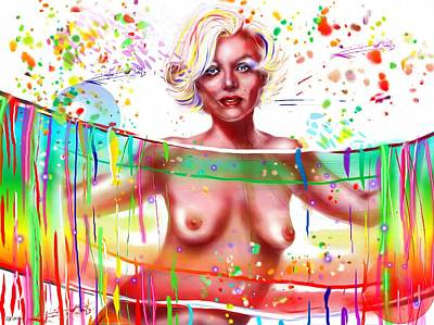 Rainbow Body Poster featuring the painting Marilyn Monroe Nude by Daniel Janda