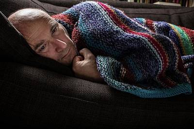 Mature Man In Blanket Poster by Mauro Fermariello