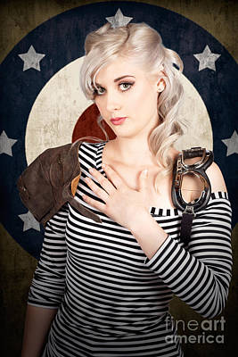 Military Pin Up Woman Taking Airplane Pilot Oath Poster by Jorgo Photography - Wall Art Gallery