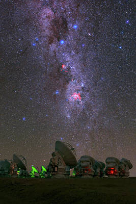 Milky Way Over Alma Telescopes Poster by Babak Tafreshi