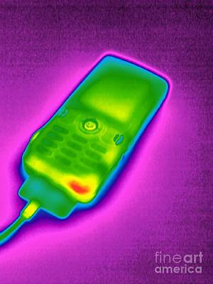 Mobile Phone On Charge, Thermogram Poster by Tony McConnell