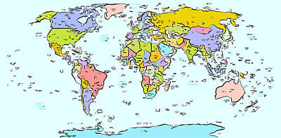 Modern World Map Poster by Celestial Images