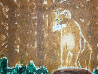 Mountain Lion Oil Painting Poster by William Sahir House