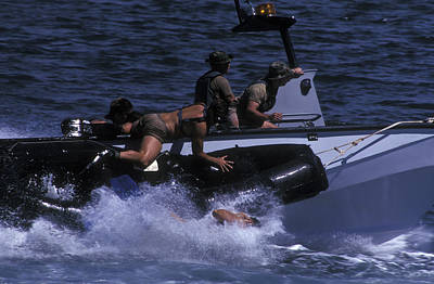 Navy Seals Practice High Speed Boat Poster by Michael Wood