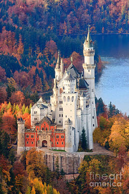 Neuschwanstein Castle In Autumn Colours Poster by Henk Meijer Photography