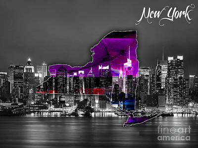 New York Map And Skyline Watercolor Poster by Marvin Blaine