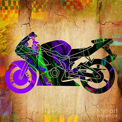 Ninja Motorcycle Painting Poster by Marvin Blaine