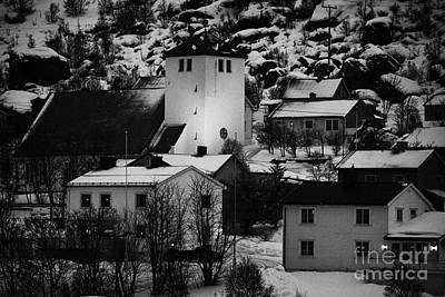 Oksfjord Church And Village During Winter Norway Europe Poster by Joe Fox