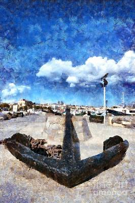 Old Anchor In Aegina Port Poster by George Atsametakis