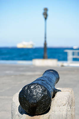 Old Cannon In Aegina Port Poster by George Atsametakis