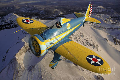 P-26 Pea Shooter Flying Over Chino Poster by Phil Wallick