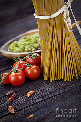 Pasta Ingredients Poster by Mythja  Photography