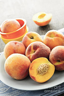 Peaches On Plate Poster by Elena Elisseeva