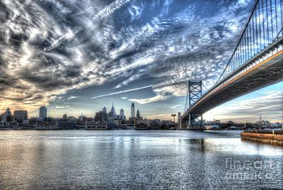Philadelphia Skyline - Camden View Of Ben Franklin Bridge Poster by Mark Ayzenberg