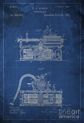 Phonograph Edison Patent Blueprint 2 Poster by Pablo Franchi
