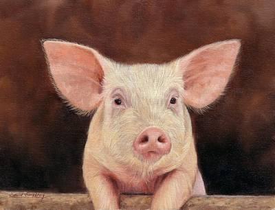 Pig Poster by David Stribbling