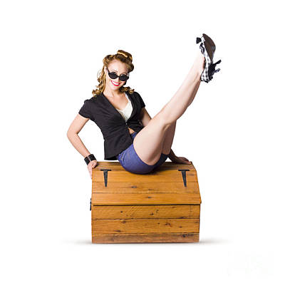 Pin-up Seated On A Pine Trunk Poster by Jorgo Photography - Wall Art Gallery