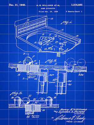 Pinball Machine Patent 1939 - Blue Poster by Stephen Younts