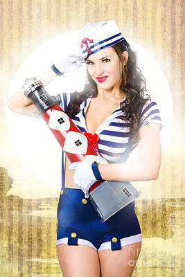Pinup Portrait Of Young Happy Naval Woman Poster by Jorgo Photography - Wall Art Gallery