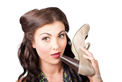 Pinup Vintage Woman Chatting On Shoe Phone Poster by Jorgo Photography - Wall Art Gallery