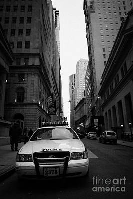 Police Squad Car On Wall Street New York City Poster by Joe Fox