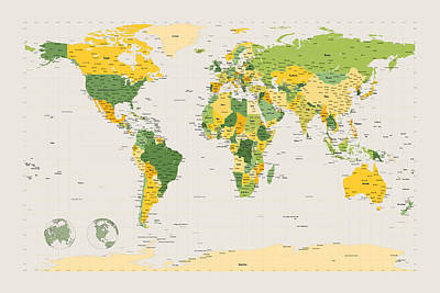 Political Map Of The World Poster by Michael Tompsett