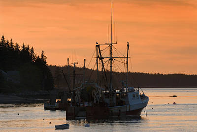 Port Clyde Maine Fishing Boats At Sunset Poster by Keith Webber Jr
