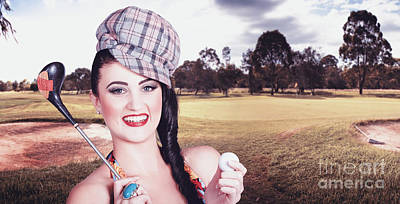 Portrait Of A Smiling Retro Female Golfer Poster by Jorgo Photography - Wall Art Gallery