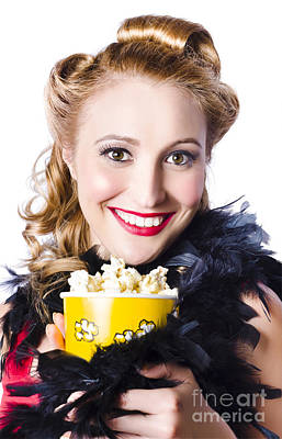 Portrait Of Woman With Popcorn Poster by Jorgo Photography - Wall Art Gallery