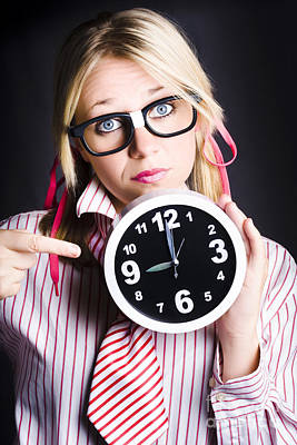 Punctual Woman Late For Time Schedule Deadline Poster by Jorgo Photography - Wall Art Gallery