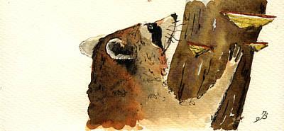 Raccoon On Tree Poster by Juan  Bosco
