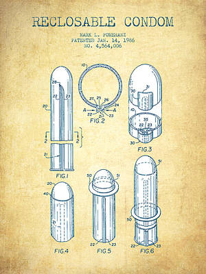 Reclosable Condom Patent From 1986 - Charcoal Poster by Aged Pixel