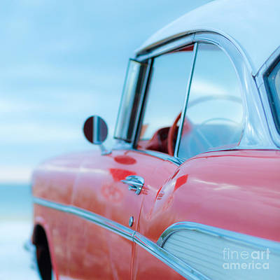 Red Chevy '57 Bel Air At The Beach Square Poster by Edward Fielding