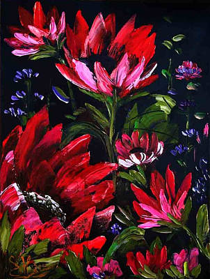 Red Flowers Poster by Shirwan Ahmed