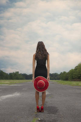 Red Sun Hat Poster by Joana Kruse