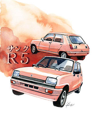Renault R5 Poster by Yoshiharu Miyakawa