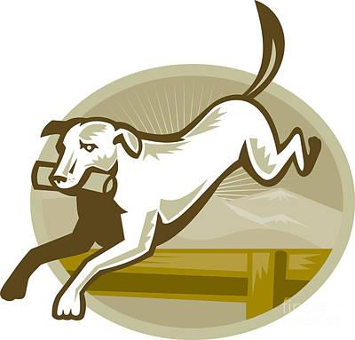 Retriever Dog Training Jumping Hurdle Retro Poster by Aloysius Patrimonio