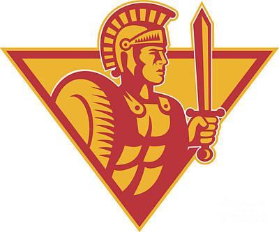 Roman Centurion Soldier With Sword And Shield Poster by Aloysius Patrimonio