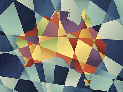Australia Geometric Retro Map Poster by Michael Tompsett