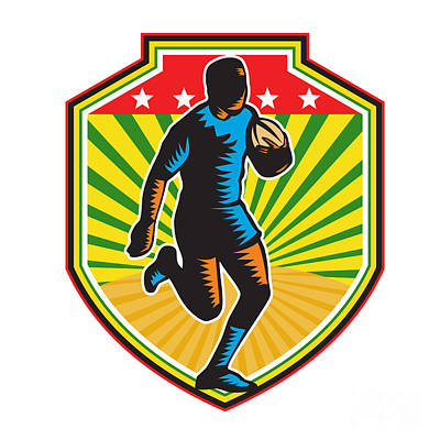 Rugby Player Running Ball Shield Retro Poster by Aloysius Patrimonio