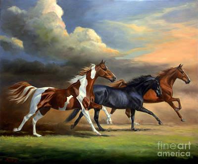 Saddlebreds Three Poster by Jeanne Newton Schoborg