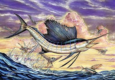 Sailfish And Flying Fish In The Sunset Poster by Terry Fox
