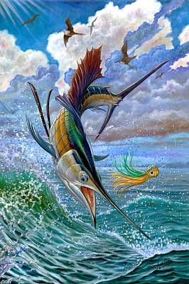 Sailfish And Lure Poster by Terry Fox