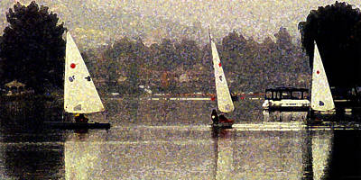 Sailing In The Rain Poster by Ron Regalado