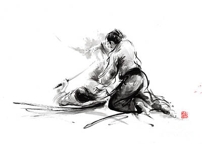 Samurai Sword Bushido Katana Martial Arts Budo Sumi-e Original Ink Painting Artwork Poster by Mariusz Szmerdt