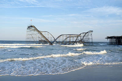 Seaside Heights - Jet Star Roller Coaster In Ocean Poster by Niday Picture Library